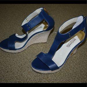 Michael Kors Blue Wedge Heels